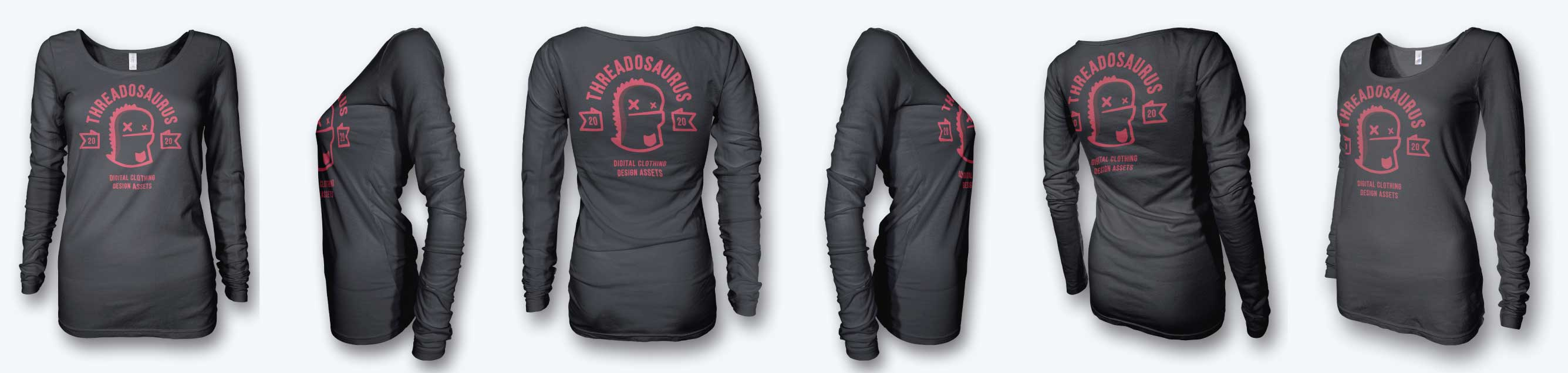 womens long sleeve t-shirt mockup front back side