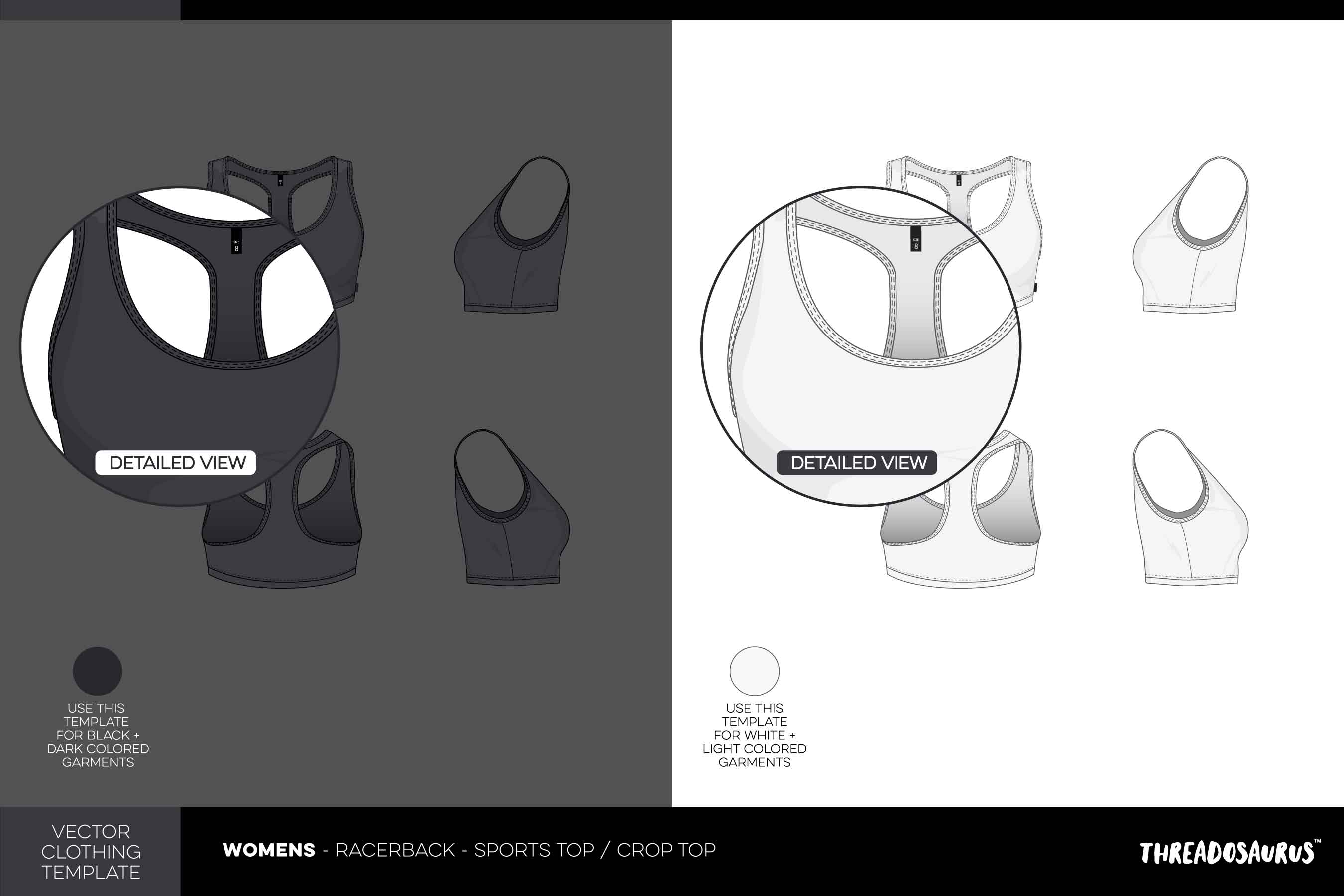 Womens Racerback Sports Crop Top Template - Vector Pack