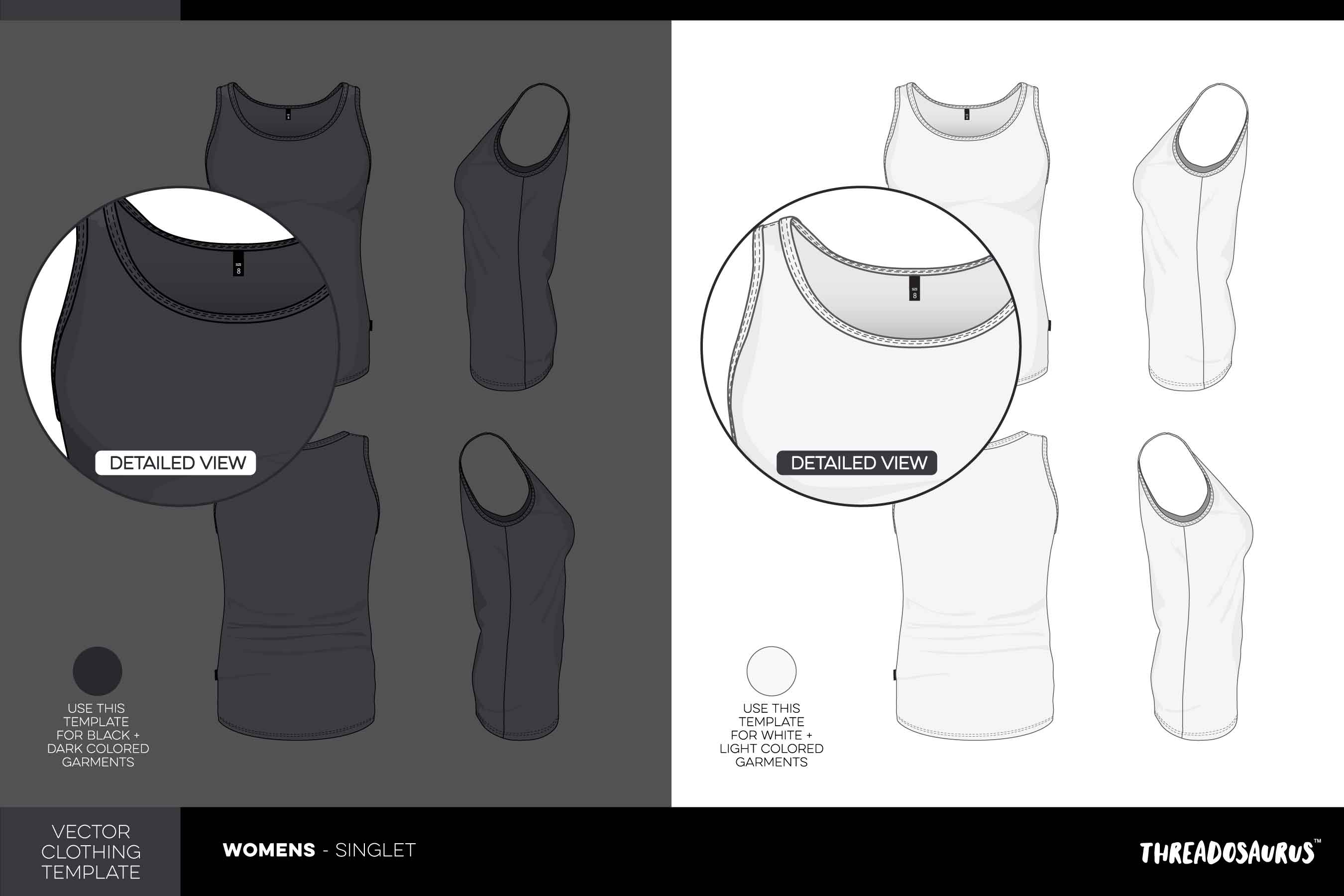 Womens Singlet Template - VECTOR Pack with Pocket Add-on