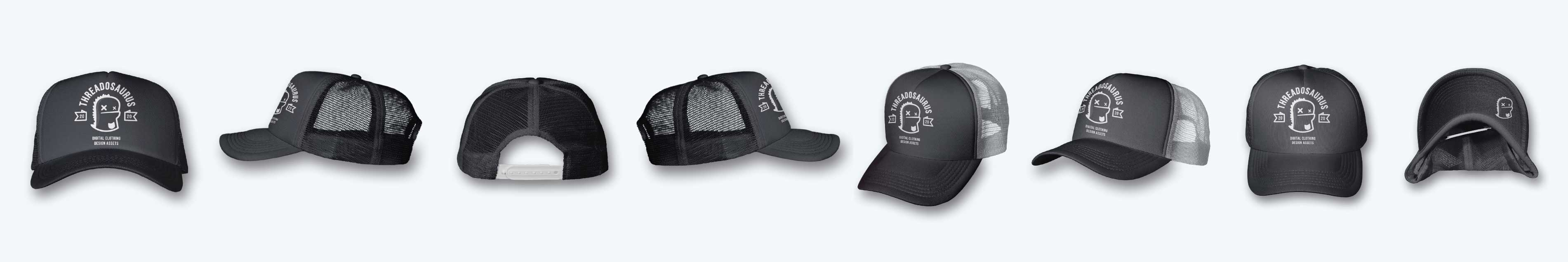 Image of a ghosted foam mesh trucker cap mockup, front, back, side, and angled views